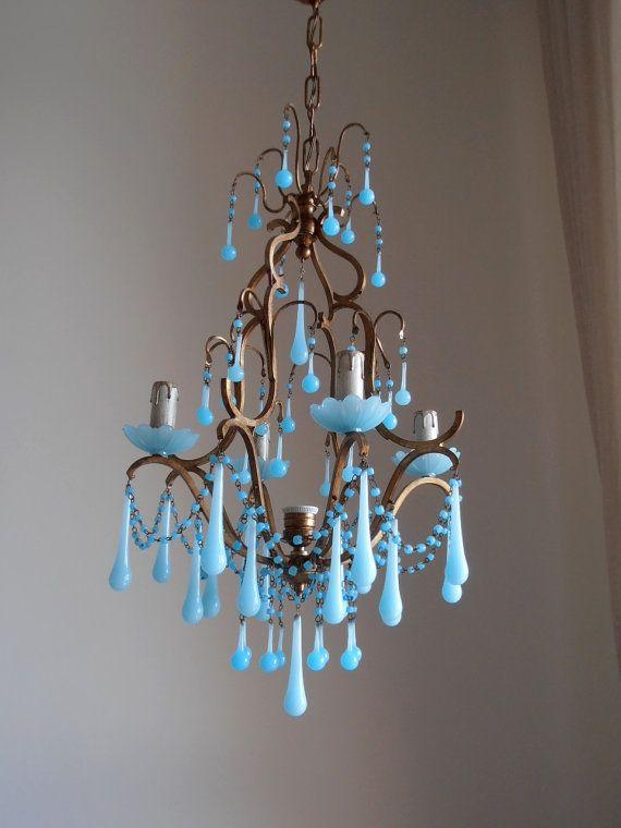 376 best blue opaline aqua drop chandies images on pinterest rare vintage italian brass gilded aqua blue opaline birdcage crystal chandelier murano glass crystals macaroni beads mozeypictures Gallery