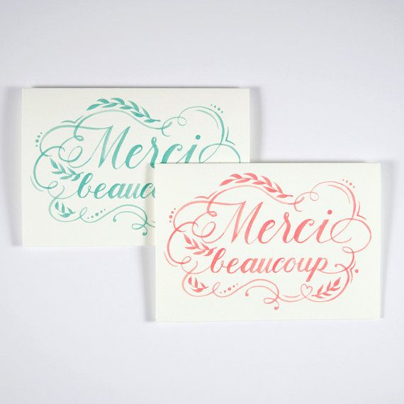 Merci Beaucoup  Thank you cards folded card set   by FourWetFeet
