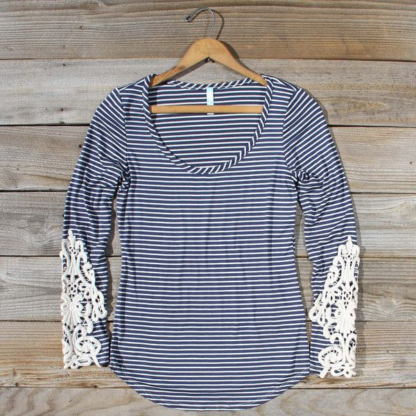 so simple but so cute. - Sleepy Creek Lace Tee in Navy, Cozy Lace Tees from Spool 72. | Spool No.72
