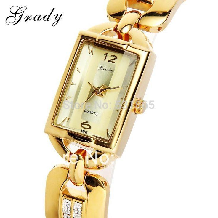 Грейди Часы женщины моды роскошные часы дамы золотые часы 22 К золото кварца японии movt водонепроницаемый