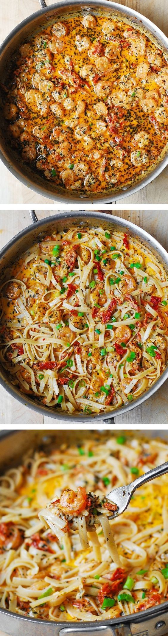 Garlic Shrimp and Sun-Dried Tomatoes with Pasta in Spicy Creamy Sauce, spiced up with basil and crushed red pepper. Italian comfort food that's super easy to make!