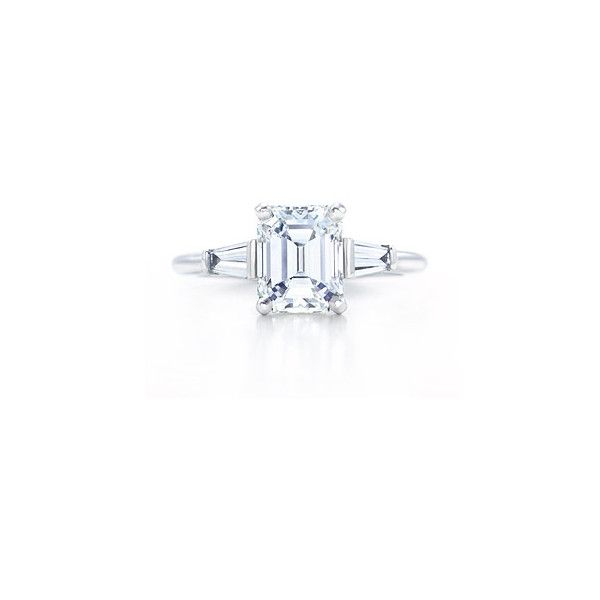 Tiffany & Co. | Tiffany Engagement Rings | Emerald-Cut With Tapered Baguettes found on Polyvore. wedding engagement proposal