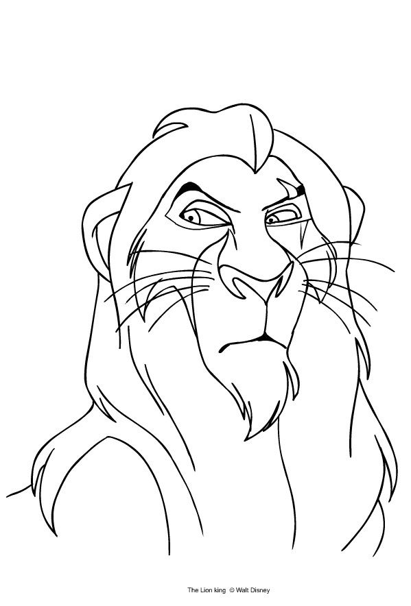 Scar Lion King Coloring Page Youngandtae Com Lion King Drawings Lion Coloring Pages King Drawing