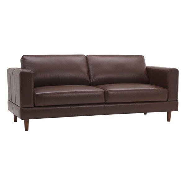 Walnut Brown Leather Sofas 3 Seater Sofa Versailles