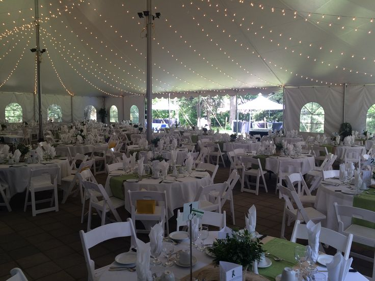 Corporate Garden Party  #lachefs #lachefsdecor #decor #reception #gardenparty #white #green #burlap #woodsy #fresh #outdoors #stage #tent #outdoortent #tentparty #dinnerparty #corporatereception #corporate #cafelights #lighting #bigtoptent