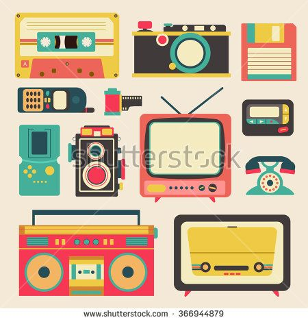 Old retro media communication technology such as mobile phone camera radio television diskette casette tape pager and loudspeaker amplifier flat icon design, create by vector