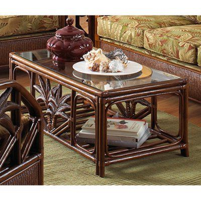 Hospitality Rattan Cancun Palm Rattan U0026 Wicker Coffee Table With Glass Top    TC Antique