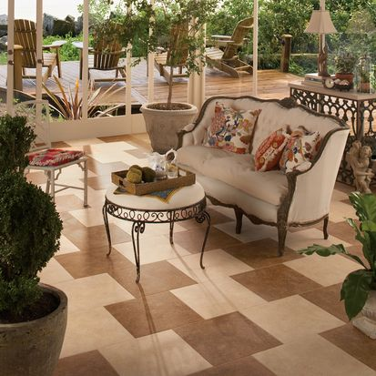 Macadamia And Caramel 12 X 12 Tile On The Floor In A Brick Pattern.