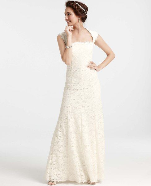 Ann Taylor - Isabella Lace Wedding Dress with cutout back - Weddings: Bridesmaid Dresses, Bridal Gowns, Shoes, Accessories