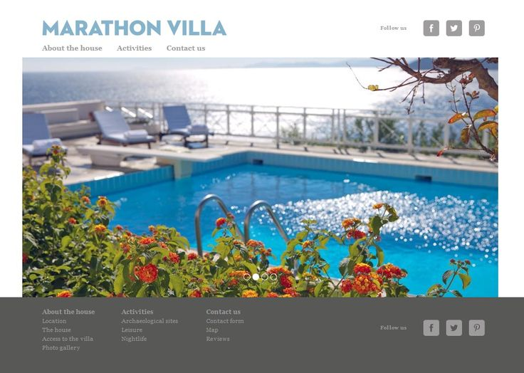 H Marathon Villa χτίστηκε το 1986 στο Σχοινιά Μαραθώνα. Λόγω της τοποθεσίας του, πάνω σε λόφο, μπορεί κάποιος να διακρίνει το βόρειο άκρο της Εύβοιας και να απολαύσει τα κρυστάλλινα νερά του Αιγαίου. Αναπτύξαμε την ιστοσελίδα της, που διαθέτει φωτογραφίες με το εσωτερικό και εξωτερικό κομμάτι του σπιτιού, πληροφορίες για την ιστορία και την τοποθεσία του καθώς και χάρτη. www.marathonvilla.gr