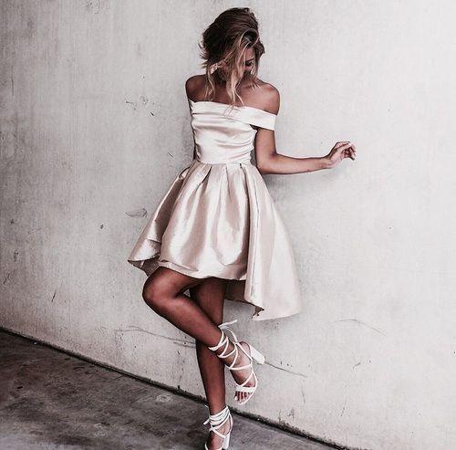Champagne off the shoulder dress//