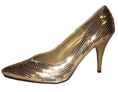 Deze gouden pumps met gouden pailletten zijn een aanwinst voor ieder kostuum! De gouden pumps met pailletten zijn in verschillende maten verkrijgbaar, hebben een hakje van 10 cm
