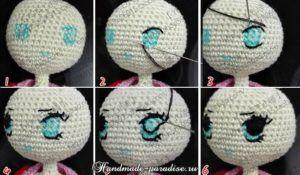 Как вышить глазки куколке амигуруми (5)