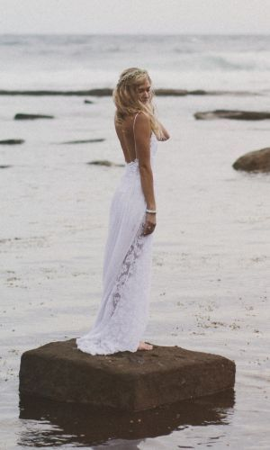 Boho lace wedding dress boho bride beach bride  Grace loves lace shop Hollie dress www.graceloveslace.com
