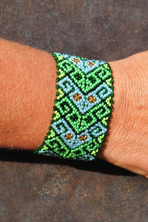 Mexican Huichol Beaded bracelet, Ethno, Manschette