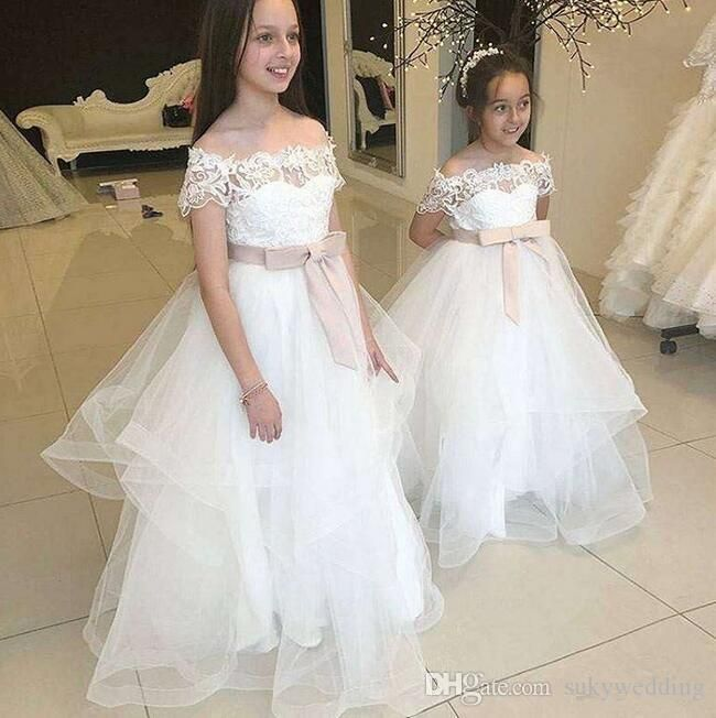 SE Smiley Ever White Ball Gown Wedding Dress Embroidery Princess Dress Birthday Party