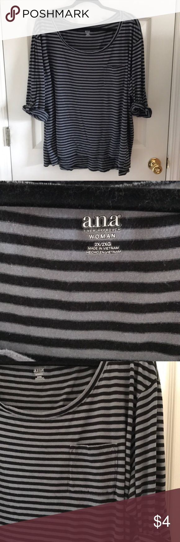 Ana 2X black and grey striped top 3/4 sleeve slouchy black and grey striped top. Very loose fitting and super comfortable. a.n.a Tops