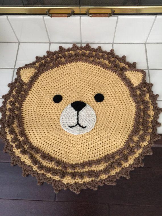 Crochet Lion Rug, Alfombra de León hecho a mano, Rug de ...