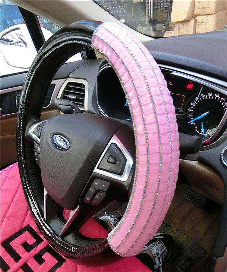 35.96 Funky Diamond Car Steering Wheel Covers PU Leather