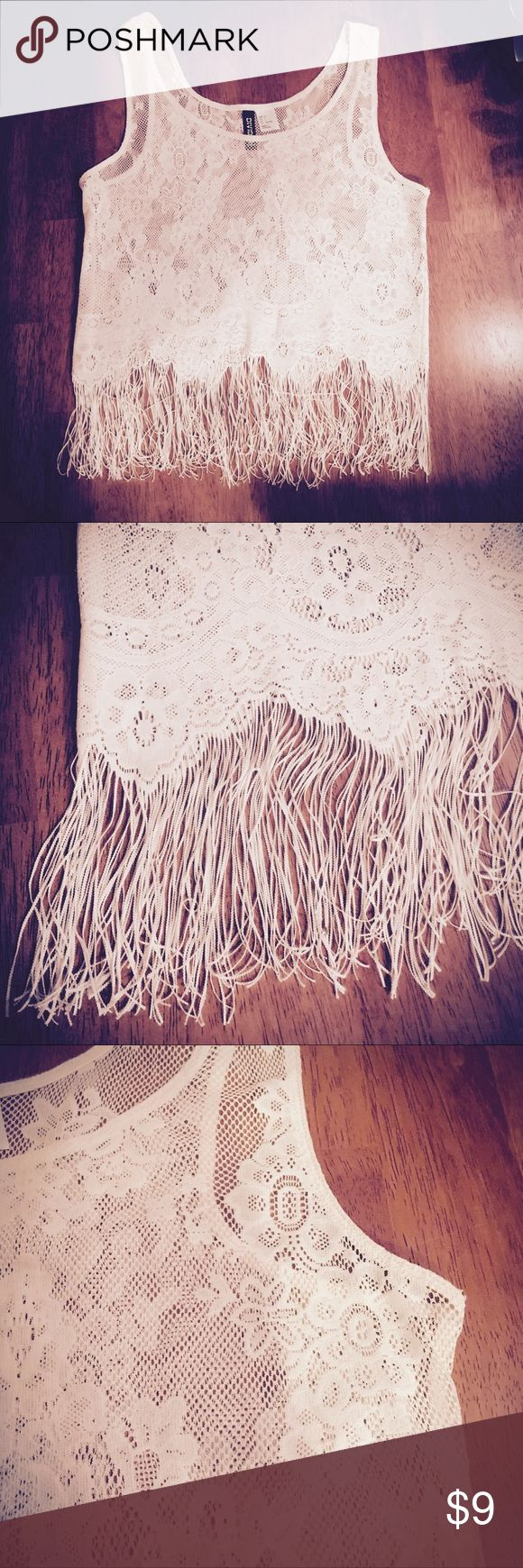 Lacy Boho Fringe Tank Top in Light Beige Lacy Boho Fringe Tank Top in Light Beige.  Such a fun festival style piece! Goes great paired with a bandeau, nude bra or tank under and jean shorts or at the beach over your swimsuit. H&M Tops Tank Tops