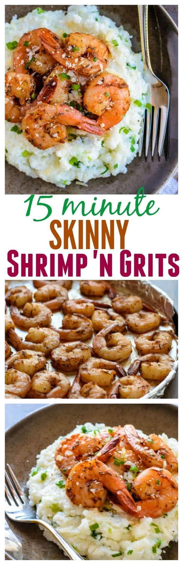 15 Minute Skinny Shrimp and Grits. I couldn't believe this was lightened up!