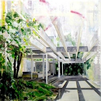 Ross M Brown, Pavillion (interior), Oil, oil stick and spray paint on board, 122x122cm, 2014  Lacey Contemporary Gallery Notting Hill London  Landscape Painting Architecture