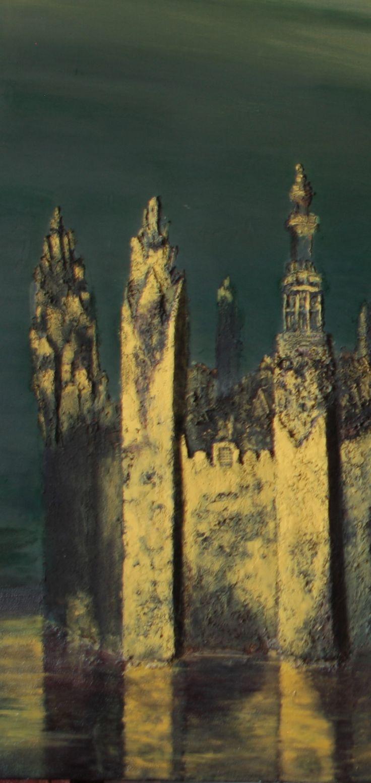 Luc Dartois 1997 - Le Burg a la Croix (detail), d'apres un dessin de Victor Hugo - Peinture et matieres sur toile - Le Burg a la Croix (detail), after a Victor Hugo's drawing - Painting and matters on canvas