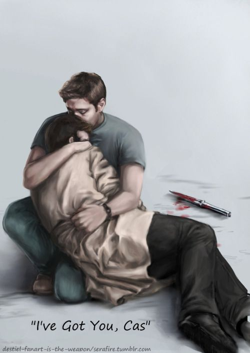 """destiel-fanart-is-the-weapon: """"""""I've Got You, Cas"""" I'm finally done!! this is the finished fanart of the sketch that I posted like two weeks ago. There are still so many things I want to change, but right now I'm too exhausted to do anything about..."""