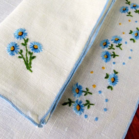 Vintage Linen Four Placemats Napkins Embroidered Blue by KerryCan, $20.00