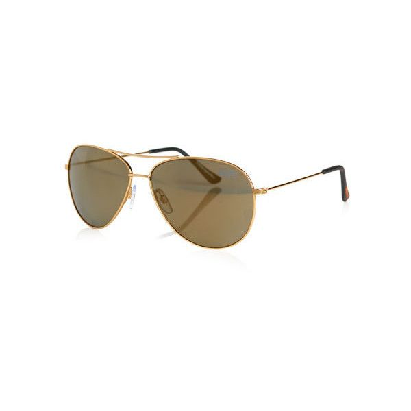 Superdry Navigator Sunglasses ($35) ❤ liked on Polyvore featuring accessories, eyewear, sunglasses, gold, gold aviator glasses, gold glasses, gold aviator sunglasses, gold aviators and aviator sunglasses
