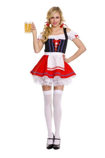 Sumptuous Beer Girl Oktoberfest Costume for adults! Classic peasant style costume dress with attached apron, thigh highs, and hair ribbons. Easy returns.