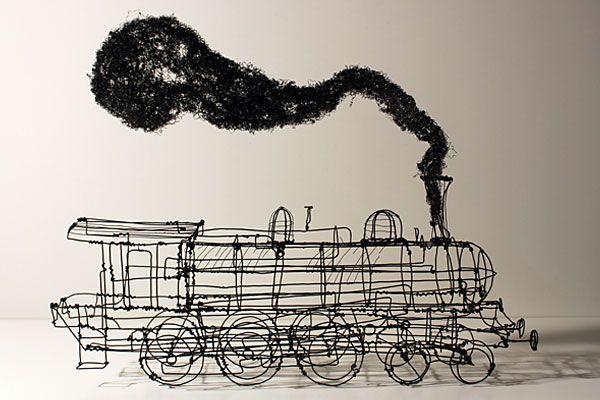 【アート画像】これはスケッチ?イラストを思わせる遊び心たっぷりなワイヤー・アート - IRORIO(イロリオ)