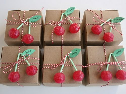cherry sucker 4X4X4 sqaure kraft box toppers wrapped with red and white striped bakers twine: Birthday, Craft, Gift Wrapping, Wrapping Ideas, Cherries, Party Ideas
