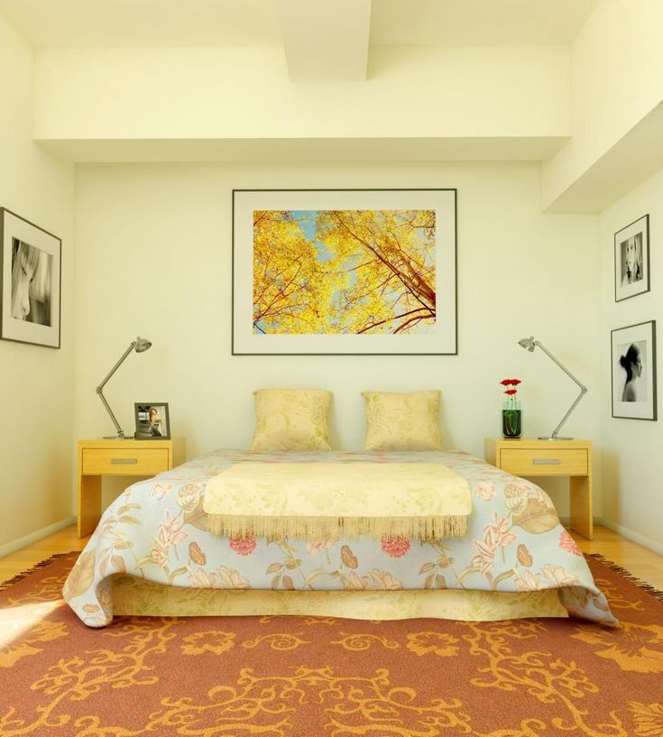 Cream Colored Bedroom With Orange Carpet Decor Master