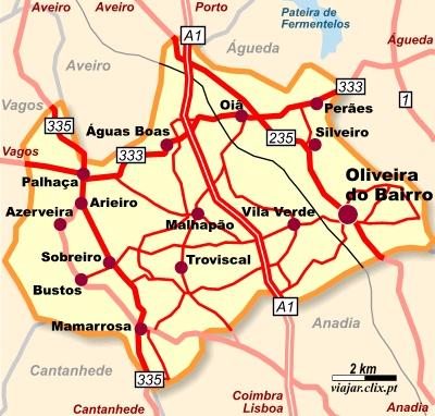 Mapa do concelho de Oliveira do Bairro, Aveiro, Portugal