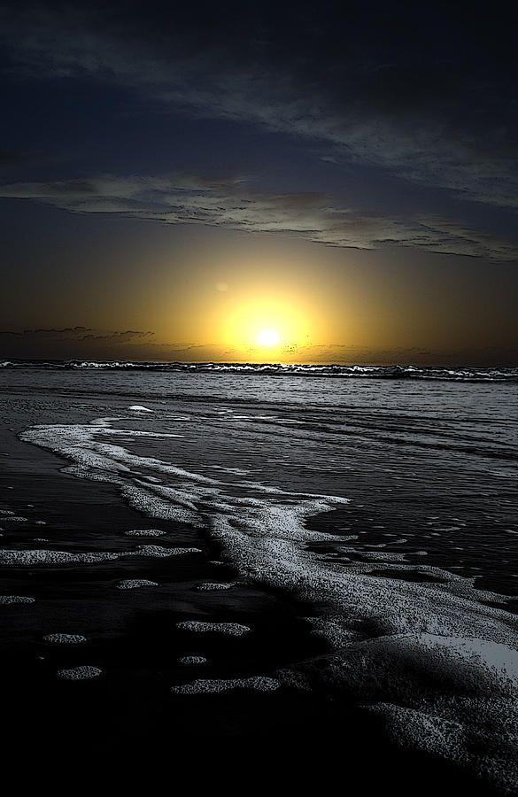Black Beach with sunrise.