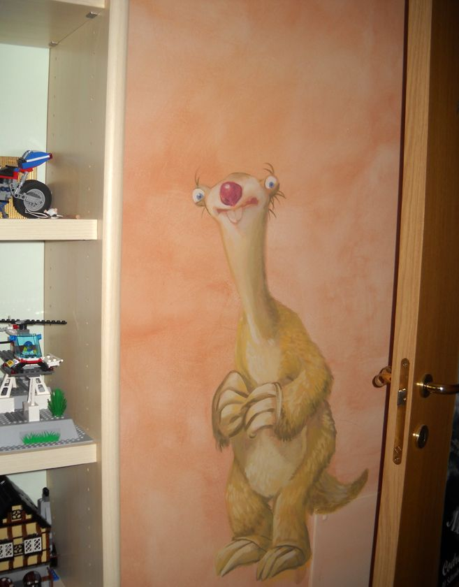 Sid, behind the door. Painted with silicate haze of orange