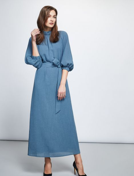 25f992c7aa Gathered Funnel Neck Maxi Dress - Sky Blue | Want!!! | Dresses ...