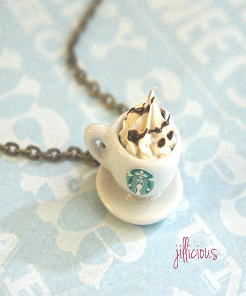 "This necklace features a miniature Starbucks coffee cup pendant topped with whipped cream. It is securely attached to a 24"" bronze chain necklace with lobster clasp closure. SKU 1513"