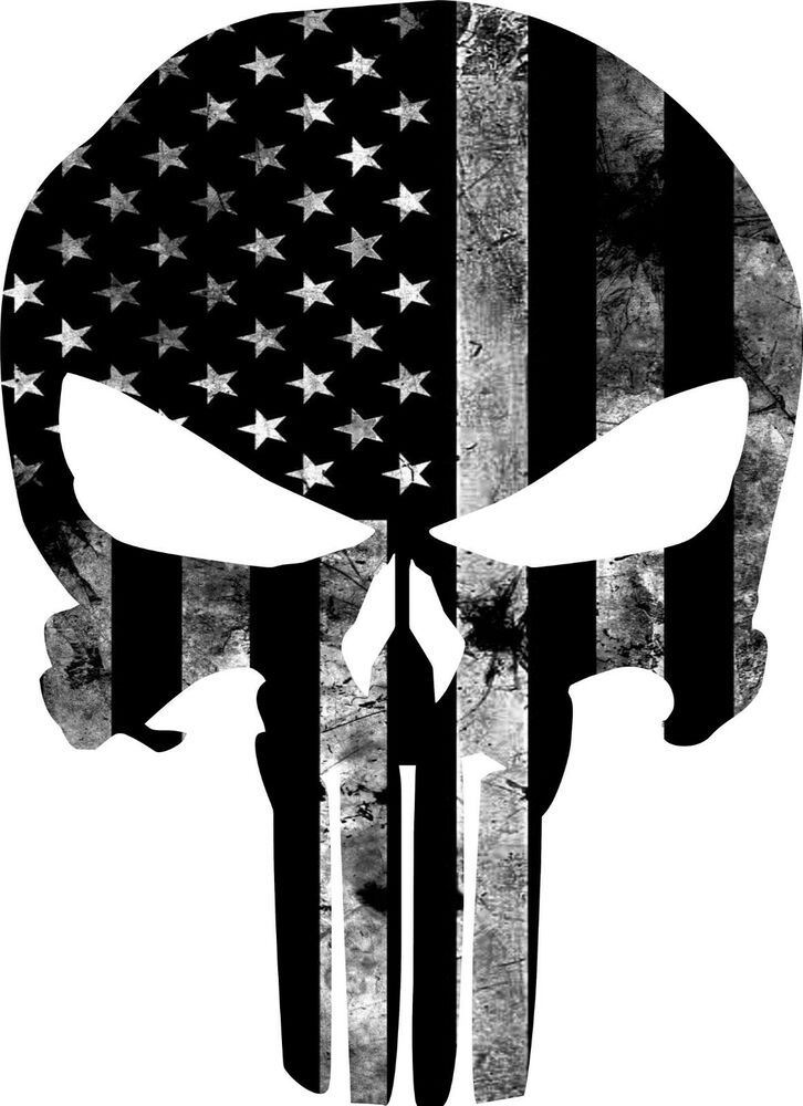 3 Percenter Punisher Skull Vinyl Cut Decal With No Background6.5 Inch White