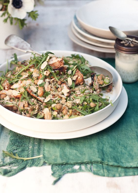 Couscous with harissa chicken, chargrilled zucchini  and crunchy, nutty salad, yoghurt drizzle