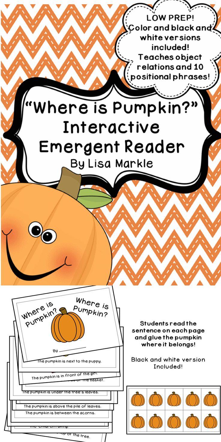 Fall Pumpkin Interactive Emergent Reader for Preschool and