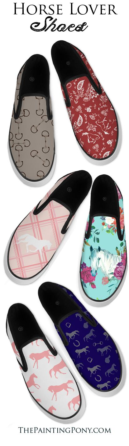 Horse lover shoes! - equestrian themed style slip on shoe for anyone who loves horses and ponies from the hunter jumper rider, dressage, or cowgirl rodeo barrel racing horseback riding enthusiast.