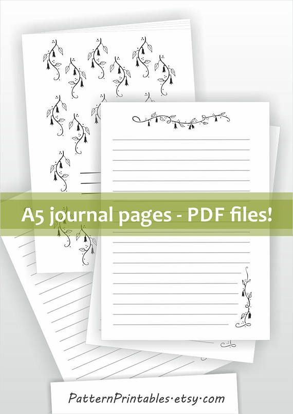 Printable Journal Pages. A5 Diary Kit. PDF Download. DIY  Diary Paper Printable