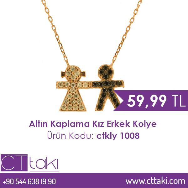 Altın kaplama kız erkek kolye. 59,99 TL fiyatı ile CT Takı'da. #altın #kaplama #kız #erkek #kolye #fiyat #ucuz #indirim #şık #aksesuar  #takı #cttakı #takıtasarım