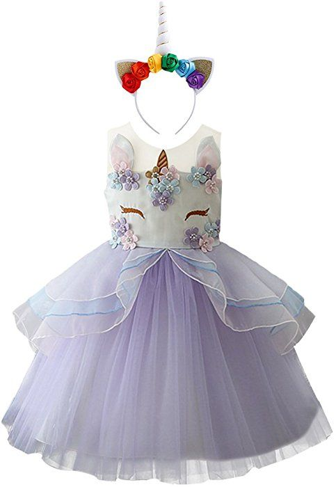 9720ad438ae8b OBEEII Girls Unicorn Costume Cosplay Dress Party Outfit Fancy Dress ...