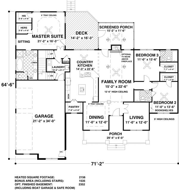 Add powder room to laundry area.  No basement. First Floor Plan of Craftsman   House Plan 93483