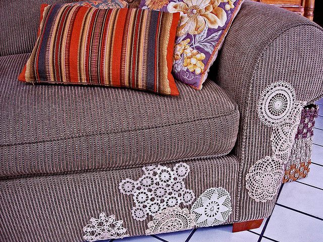 Repair a sofa with doilies!