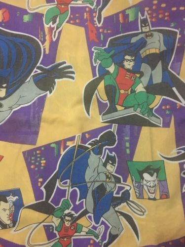 Vintage-1995-DC-Comics-Batman-Robin-Joker-TWIN-Flat-Top-Sheet-Bedding-Fabric
