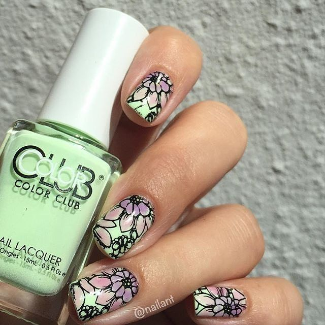 Stamping with sheer color added. By @nailant on instagram